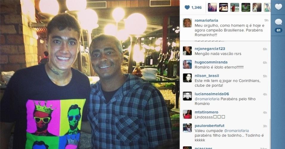 Romário posta foto com o filho Romarinho, campeão do estadual do DF pelo Brasiliense