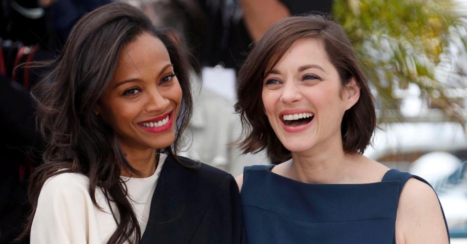 20.mai.2013 - As atrizes Marion Cotillard e Zoe Saldana divulgam o filme