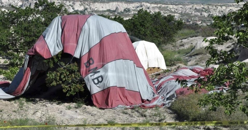 20.mai.2013 - Um balão caiu perto do Parque Nacional de Göreme, na Capadócia, Turquia. O Itamaraty confirmou a morte de três turistas brasileiras no acidente. Outros oitos brasileiros se feriram. Os nomes das vítimas não foram divulgados