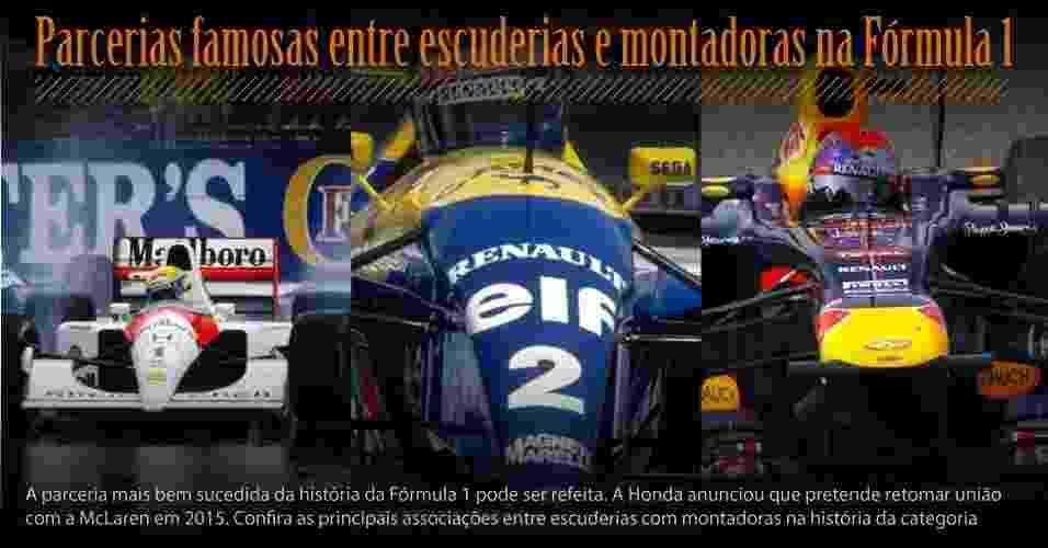 A parceria mais bem sucedida da história da Fórmula 1 pode ser refeita. A Honda anunciou que pretende retomar união com a McLaren em 2015. Confira as principais associações entre escuderias com montadoras na história da categoria. - Montagem com fotos Getty Images e Petar Kujundzic/Reuters