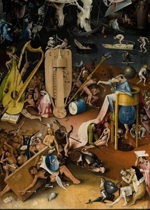 """Ignorar as quatro virtudes básicas pode fazer da vida um inferno. Acima, detalhe da obra """"Jardim das Delícias Terrenas - Inferno"""" (produzido entre 1480 e 1505), do pintor holandês Hieronymus Bosch - Reprodução/ Wikimedia Commons"""