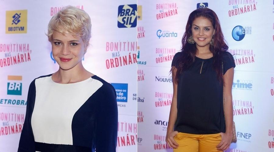 21.mai.2013 - Leandra Leal e Paloma Bernardi prestigiaram a pré-estreia do filme
