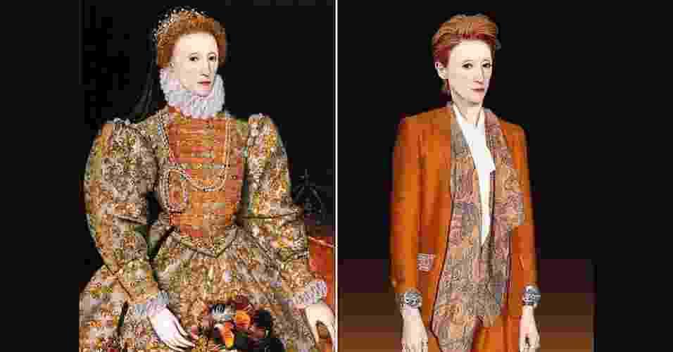 """Como figuras históricas se vestiriam nos dias de hoje? Esse foi o objetivo do canal de televisão britânico Yesterday para promover a série """"Secret Life of..."""" (A vida secreta de...). Na imagem acima, Elizabeth I, conhecida como a Rainha Virgem, que governou a Inglaterra entre 1558 e 1603. - BBC"""