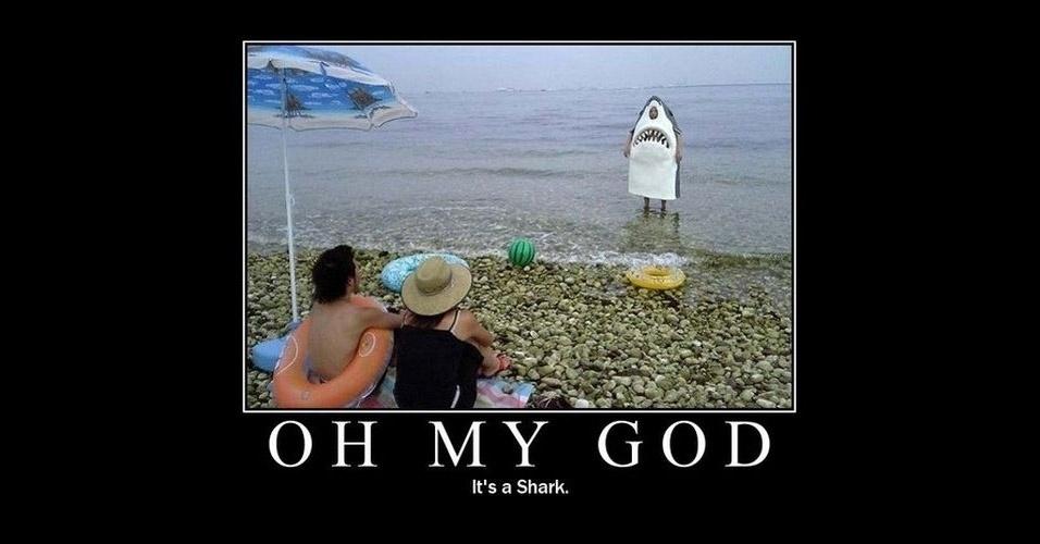 Na imagem, a frase 'Oh meu Deus, é um tubarão'. A modinha da web Shark Attack - Ataque de Tubarão - consiste em brincar com imagens de tubarões, fazendo montagens e colocando o bichano em diferentes cenários e posições