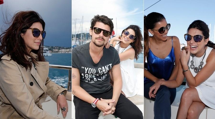 22.mai.2013 - Fernanda Paes Leme, Felipe Solari e Mariana Rios curtiram um passeio de iate pela Cote D'Azur, França. Os artistas viajaram a convite de uma marca de cervejas para prestigiarem o Festival de Cannes
