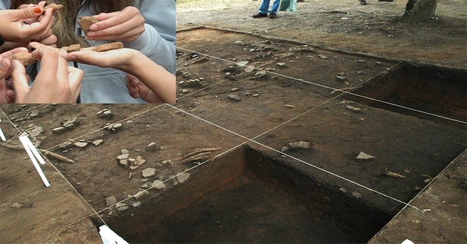 22.mai.2013 - Sítio arqueológico de índios Aratu foi encontrado em Paraibuna, no Vale do Paraíba, em São Paulo. A presença do grupo é rara na região e deve ter ocorrido antes da chegada dos portugueses no Brasil, por volta do ano 1400. No sítio, de mais de cinco mil metros quadrados,vários fragmentos de urnas funerárias foram encontradas, além de fragmentos de utensílios cerâmicos (tigelas, potes etc) e material lítico lascado, predominantemente em sílex e quartzo, utilizados geralmente como ferramentas de corte e perfuração