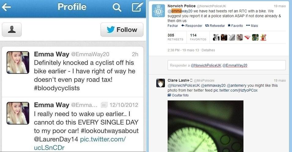 @EmmaWay20 publicou tuíte dizendo ter atropelado ciclista
