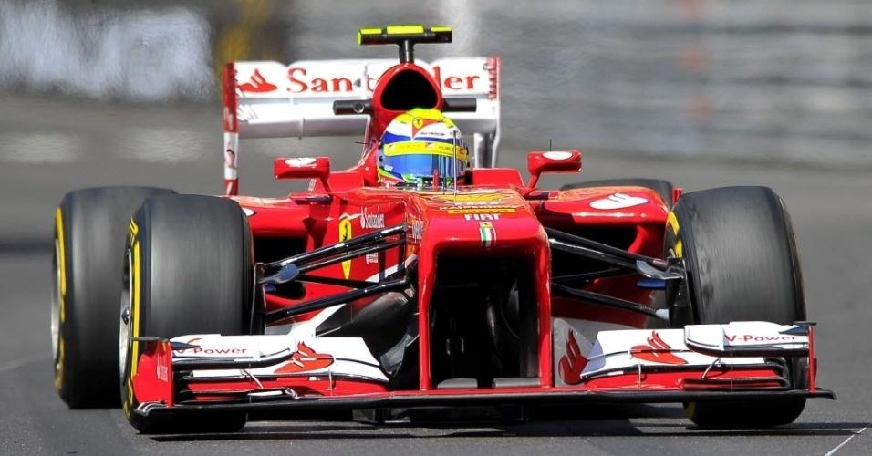 23.mai.2013 - Felipe Massa acelera sua Ferrari pelo circuito de rua de Monte Carlo durante treinos livres para o GP de Mônaco