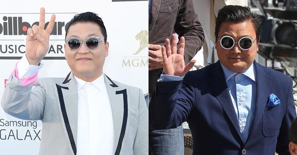 Compare: o verdadeiro Psy (à esquerda) e o falso que circulou por Cannes durante os eventos do festival de cinema. O homem, que fingiu ser a estrela pop sul-coreana, participou de festas do Festival e foi