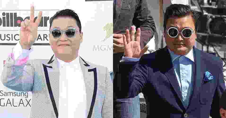 "Compare: o verdadeiro Psy (à esquerda) e o falso que circulou por Cannes durante os eventos do festival de cinema. O homem, que fingiu ser a estrela pop sul-coreana, participou de festas do Festival e foi ""flagrado"" por paparazzi - Montagem/Jason Merritt/Getty Images/AFP/Marc Piasecki/FilmMagic/Getty Images"