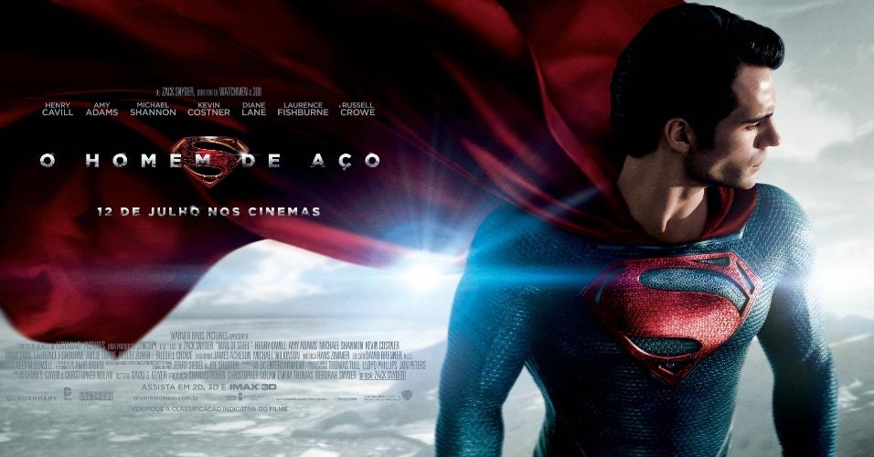 O ator Henry Cavill como Superman em novo poster do filme