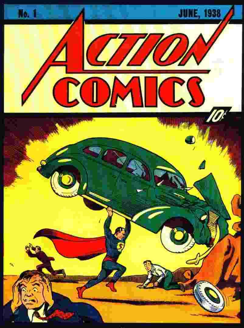 """""""Action Comics # 1"""" - Avaliada em US$ 2,470 milhões. Revista que introduz o Super Homem, em sua primeira história é a história mais bem avaliada dos quadrinhos - Divulgação"""