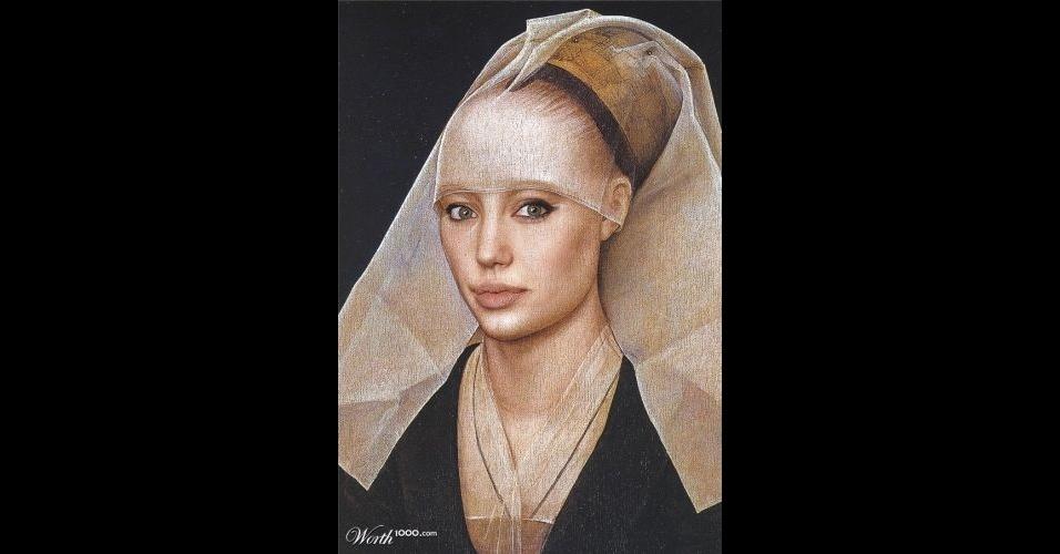 Na imagem, a atriz Angelina Jolie. O site Worth 1000 reúne imagens de celebridades que foram transformadas em pinturas antigas usando editores de imagens
