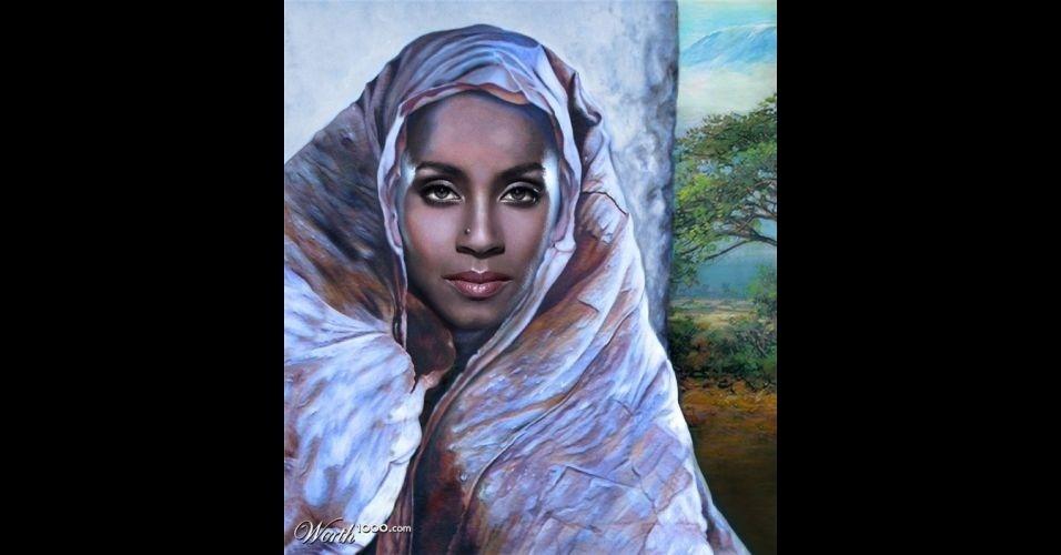 Na imagem, a atriz Jada Koren. O site Worth 1000 reúne imagens de celebridades que foram transformadas em pinturas do período renascentista (século 14) usando editores de imagens
