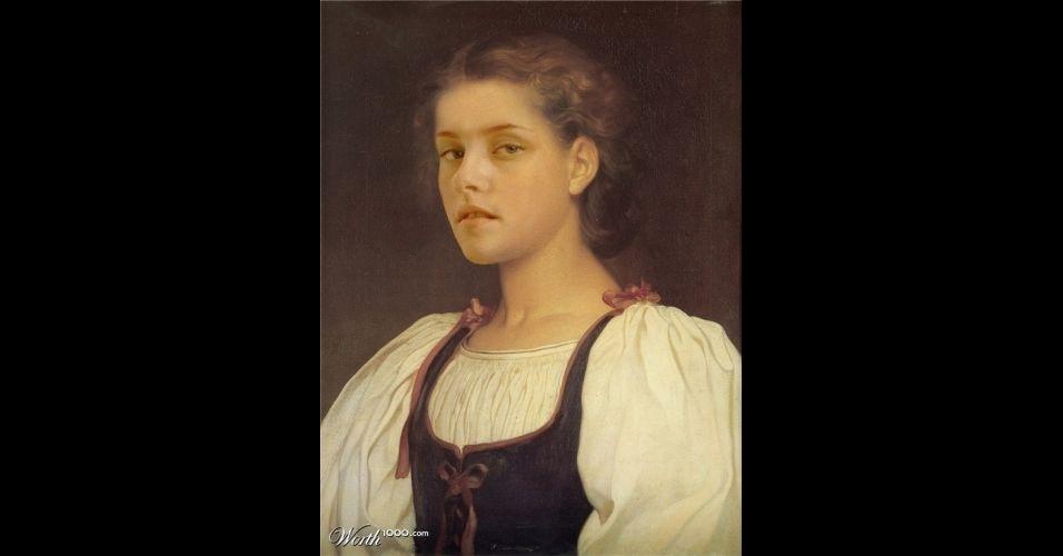 Na imagem, a atriz Kristin Stewart. O site Worth 1000 reúne imagens de celebridades que foram transformadas em pinturas do período renascentista (século 14) usando editores de imagens