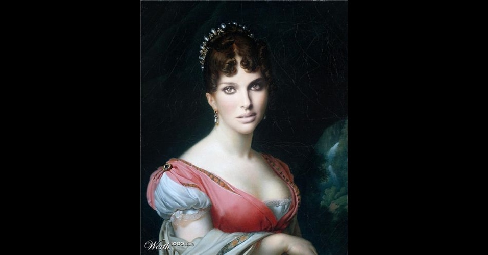Na imagem, a atriz Natalie Portman. O site Worth 1000 reúne imagens de celebridades que foram transformadas em pinturas do período renascentista (século 14) usando editores de imagens