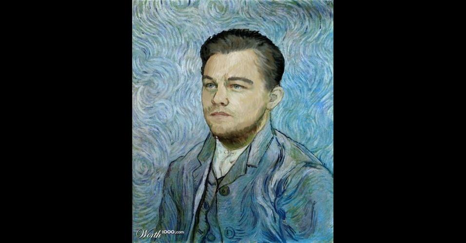 Na imagem, o ator Leonardo DiCaprio. O site Worth 1000 reúne imagens de celebridades que foram transformadas em pinturas do período renascentista (século 14) usando editores de imagens