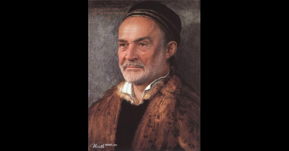 Na imagem, o ator Sean Connery. O site Worth 1000 reúne imagens de celebridades que foram transformadas em pinturas do período renascentista (século 14) usando editores de imagens