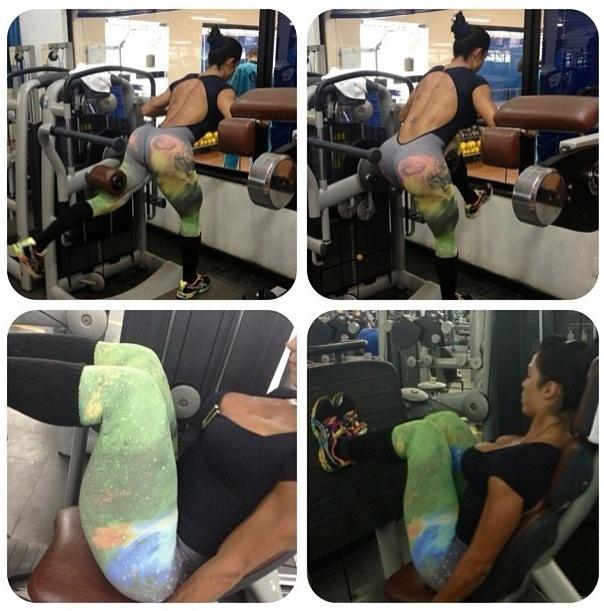 10.jun.2013 - O novo projeto de Gracyanne Barbosa é deixar o bumbum ainda mais durinho. Para isso, ela faz 4 séries de glúteo na máquina conjugado com 4 séries de 12 repetições do