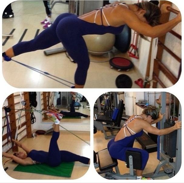 26.jun.2013 - A ex-BBB Mayra Cardi divulga alguns exercícios para os membros inferiores. Ela aposta em exercícios de musculação e com elástico para trabalhar a musculatura