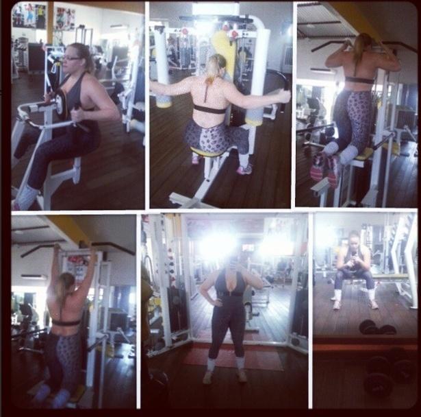 3.jul.2013 - A ex-BBB Paulinha pegou pesado no treino e caprichou nos exercícios para peitoral e costas