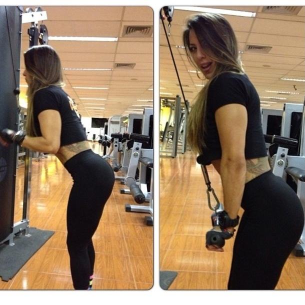 28.ago.2013 - A ex-BBB Michelly Crisfepe aposta em definir os tríceps, ombros e costas