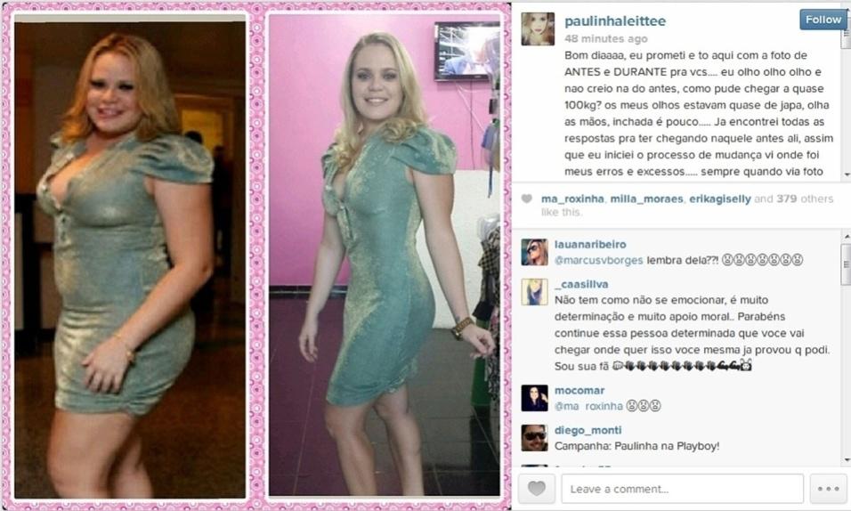 4.dez.2013 - A ex-BBB Paulinha Leite publicou no Instagram o resultado de seus oito meses de regime