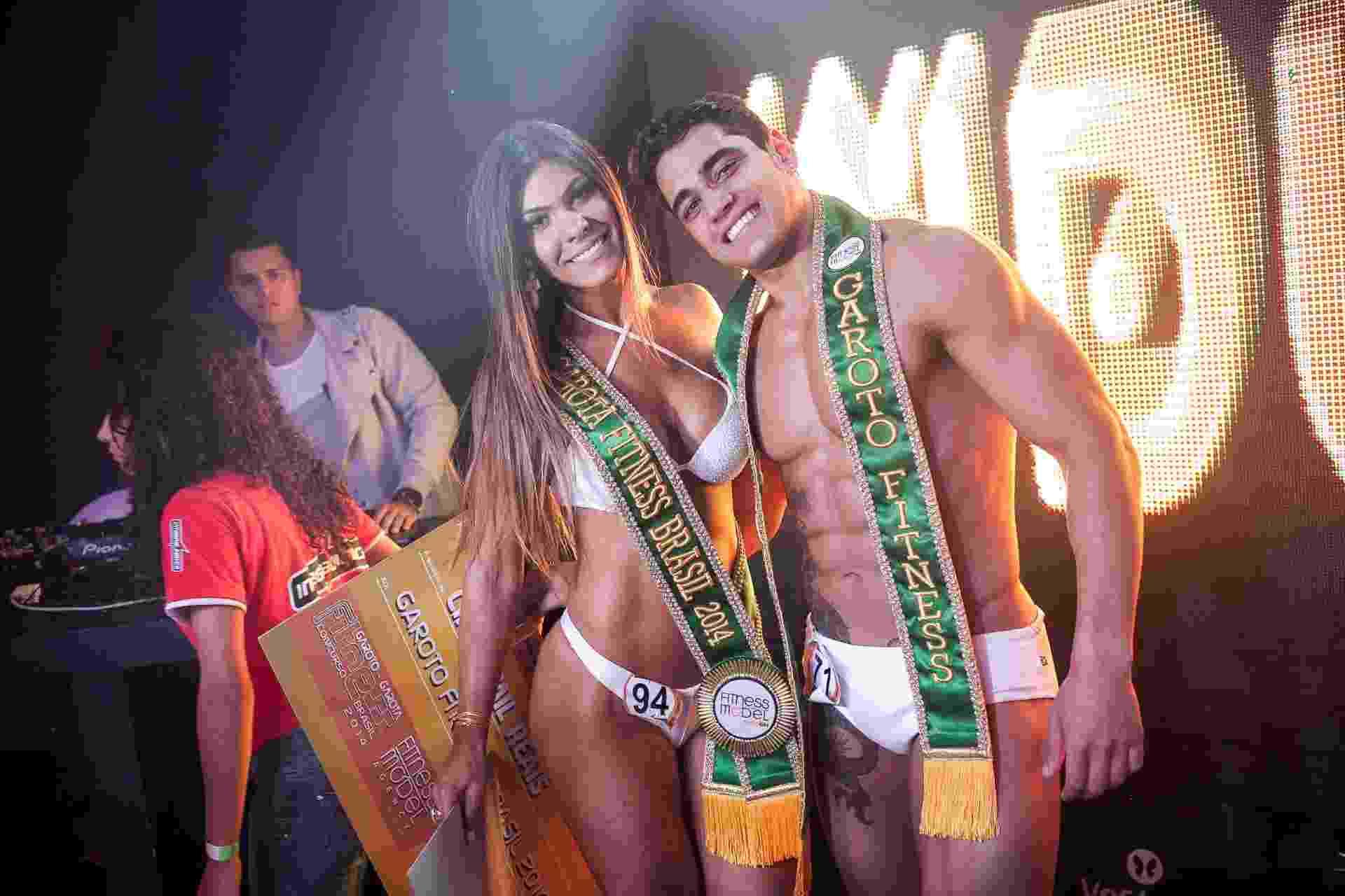 17.mar.2014 - O modelo Diogo, 23 anos, e a estudante Priscilla, 22 anos, foram os vencedores do concurso Garoto e Garota Fitness Brasil 2014, que elege os mais bonitos e sarados das academias do país - Rodrigo Capote/UOL