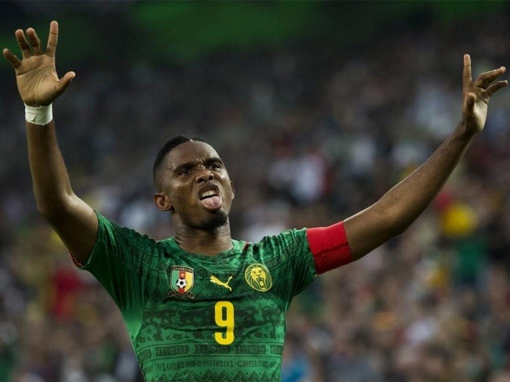 01.jun.2014 - Samuel Eto'o comemora após marcar para Camarões o primeiro gol do amistoso contra Alemanha