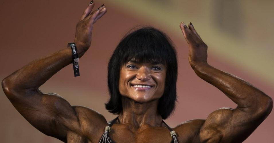 26.set.2014 - Concorrente exibe os músculos durante o evento de fisiculturismo (bodybuilding) Arnold Classic Europa em Madri, na Espanha