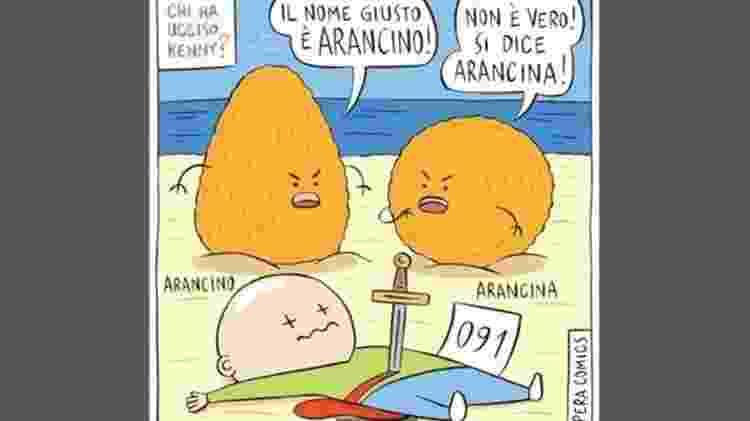 O amado lanche siciliano é alvo de um dilema linguístico há décadas  - Pera Comics/BBC