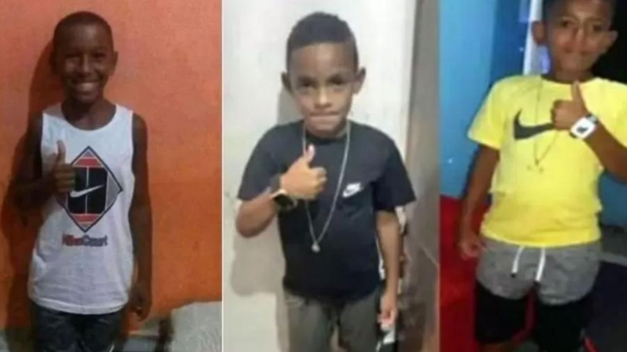 Fernando Henrique, 11, Lucas Matheus, 8, e Alexandre da Silva, 10, desapareceram dia 27 de dezembro em Belford Roxo (RJ) - Reprodução/Arquivo pessoal