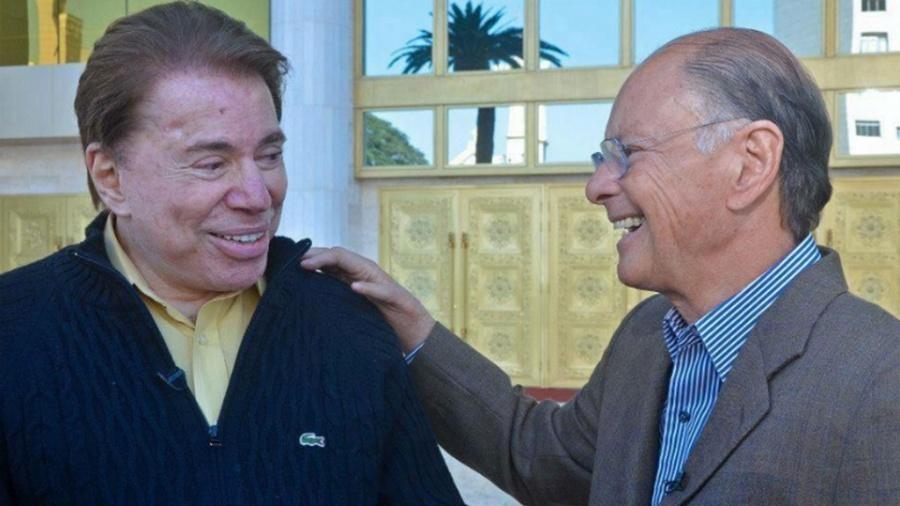 Silvio Santos se encontra com Edir Macedo no Templo de Salomão, em 2015 - Reprodução/TV Record