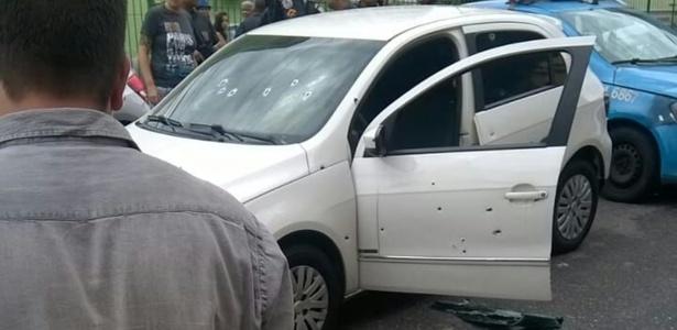 26.out.2017 - Carro onde tenente coronel estava foi atingido por ao menos 17 tiros - Reprodução