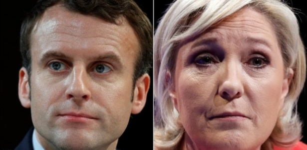 Emmanuel Macron e Marine Le Pen, candidatos que disputarão o segundo turno das eleições presidenciais da França