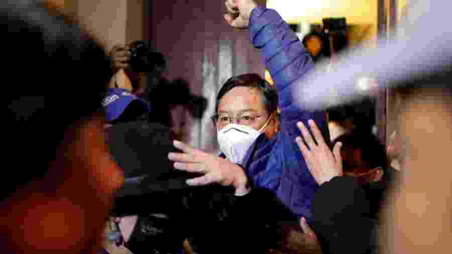 Luis Arce, candidato do MAS, partido do ex-presidente Evo Morales, comemora vitória na disputa para presidente da Bolívia em La Paz - Ueslei Marcelino/Reuters