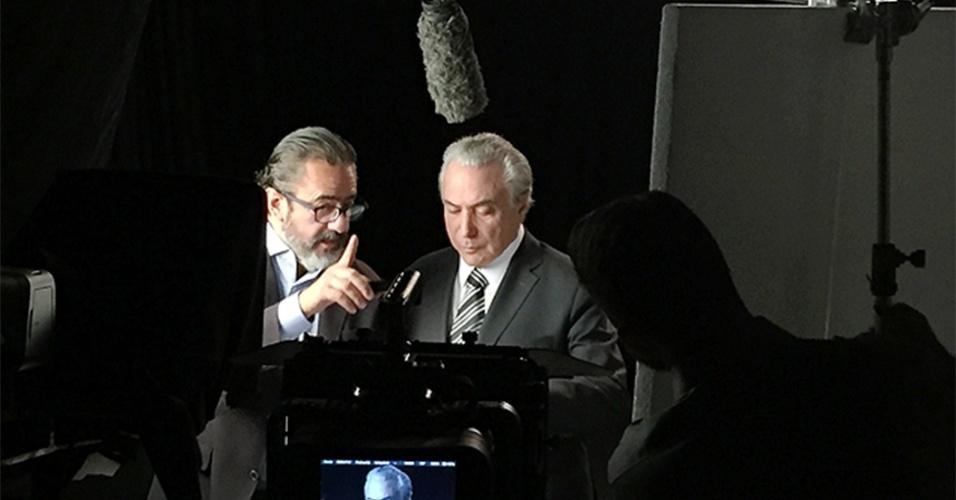 Vice-presidente Michel Temer grava cenas para programa do PMDB com o marqueteiro Elsinho Mouco