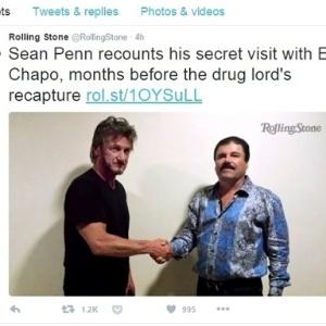 """10.jan.2016 - O traficante mexicano """"El Chapo"""" dá entrevista ao ator Sean Penn"""