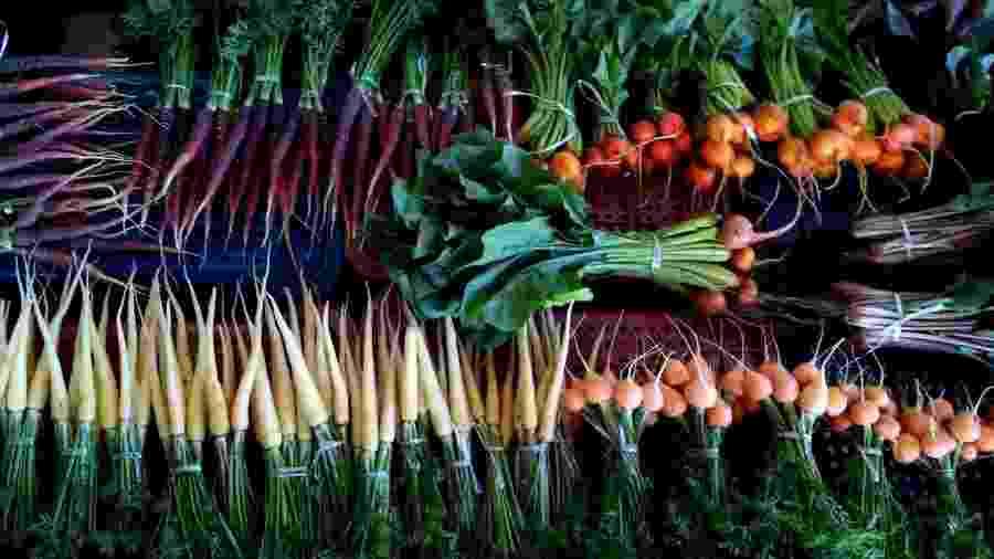 Beterrabas e cenouras multicolores são algumas das raridades produzidas do sítio Rancho Alegre - Divulgação