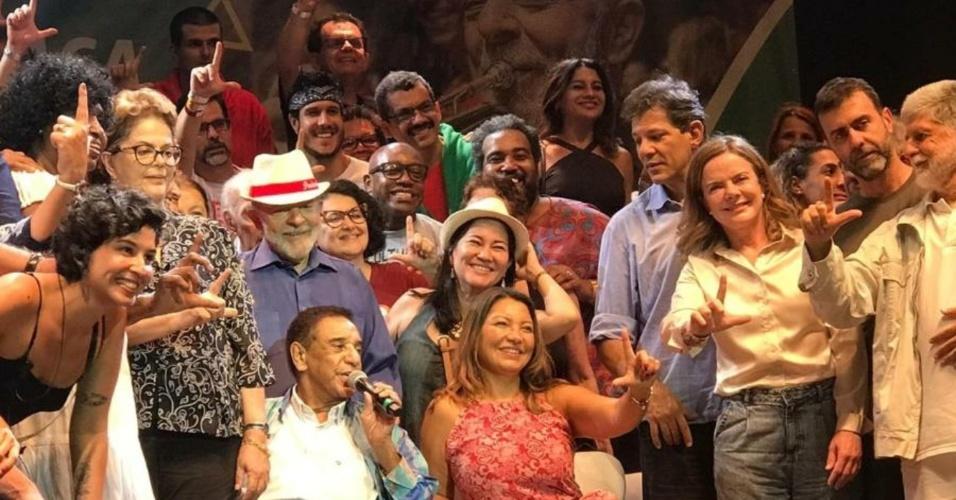 Dira Paes, Agnaldo Timóteo e mais artistas participam de ato com Lula no RJ