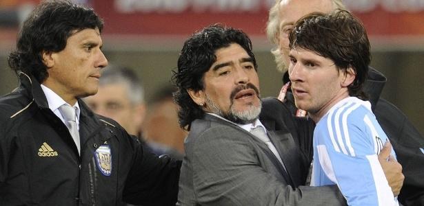 Maradona e Messi na Copa do Mundo de 2010, na África do Sul