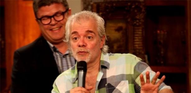 O autor Carlos Lombardi, tendo atrás o diretor de Comunicação da Record, Celso Teixeira - Claudio Andrade eRicardo Leal/PhotoRioNews