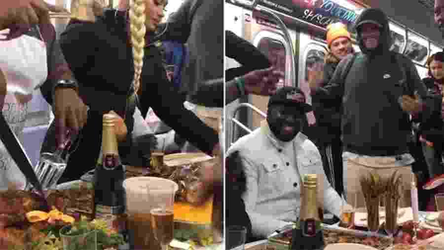 Jantar do Dia de Ação de Graças reuniu desconhecidos em volta de uma grande mesa no metrô de Nova York - Reprodução/Instagram