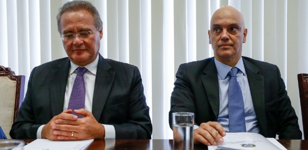 Alexandre de Moraes (d) tem se encontrado com políticos e autoridades. Na terça-feira, participou de reunião com senadores do PMDB, entre eles Renan Calheiros (AL)