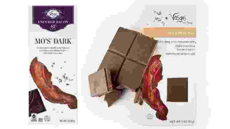 Chocolate com bacon defumado, da butique americana Vosges Haut-Chocolat - Divulgação - Divulgação