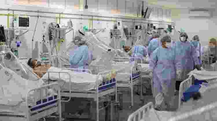 20/05/2020 - Ala de UTI para pacientes internados com coronavírus no hospital Gilberto Novaes, em Manaus (AM) - Michael Dantas/AFP - Michael Dantas/AFP