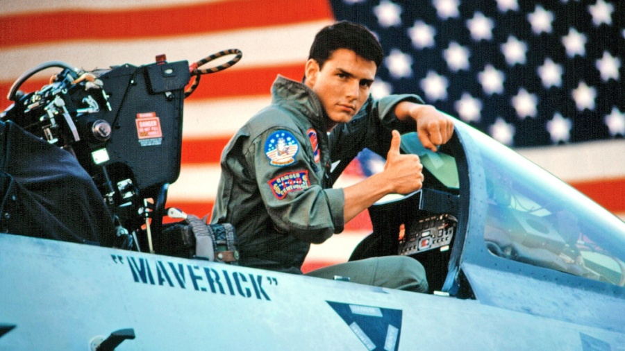 """Tom Cruise como Pete """"Maverick"""" Mitchell em Top Gun, de 1986 - Divulgação"""