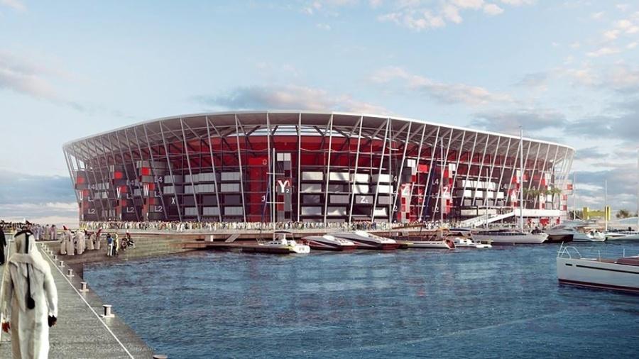 O projeto do estádio Ras Abu Aboud, em Doha, no Qatar - Divulgação