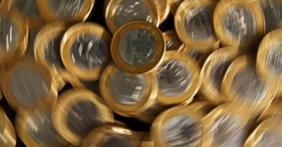 Moedas de R$ 1 moeda real dinheiro investimento