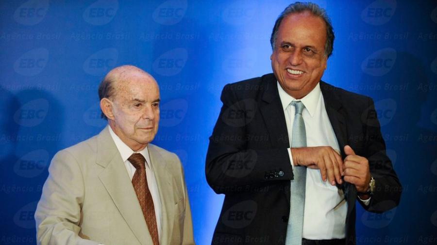 O vice-governador Francisco Dornelles (PP) (à esq.) e Pezão (à dir.) - Tânia Rêgo - 27.mar.2016/Agência Brasil